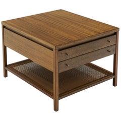 Paul McCobb Side Table / Nightstand, Two Drawers, Cane Shelf, Original Pulls