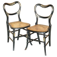Pair of Antique Regency Bergere Mother of Pearl Ebonised Side Occasional Chairs