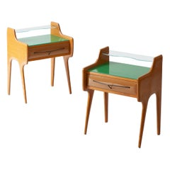 Pair of Bedside Tables in Oak with Green Glass Top, Italy, 1950s
