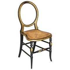 Stamped Circa 1815 Jennens & Bettridge Ebonsied Gold Leaf Painted Regency Chair