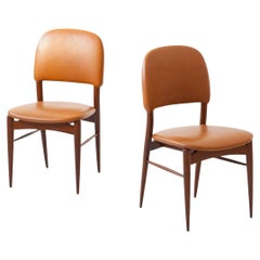 Pair of Italian Teak and Cognac Leather Side Chairs, 1950s