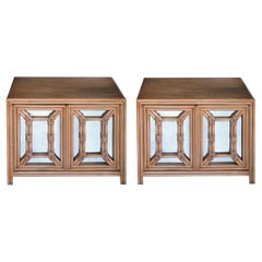 Hollywood Regency Painted Faux Bamboo and Mirrored 2-Door Cabinets