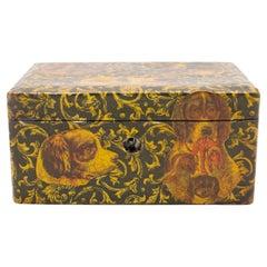 English Victorian Decoupage Dog Box
