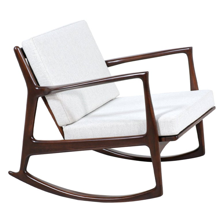 Danish Modern Sculpted Rocking Chair by Ib Kofod-Larsen for Selig For Sale