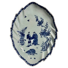 Chinese Export Blue and White Leaf Shaped Dish, Qianlong, Mid 18th Century
