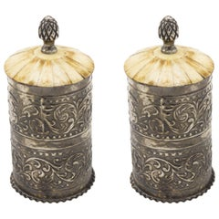Pair of English Victorian Hammered Metal Boxes