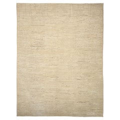 Nazmiyal Collection Beige Geometric Modern Distressed Rug. 14 ft 2 in x18 ft 7in