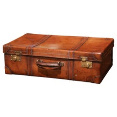 Early 20th Century French Leather Suitcase with Inside Upholstery and Tray