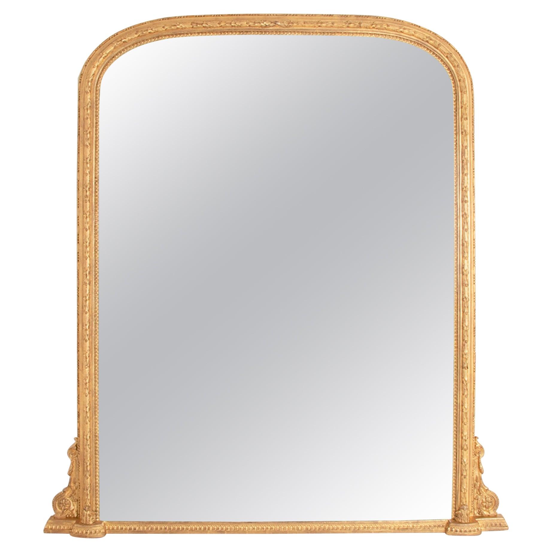 Large English Gilded Overmantle Mirror, c.1860