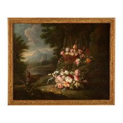 Italian 18th Century Louis XVI Period Oil on Canvas Still Life Painting