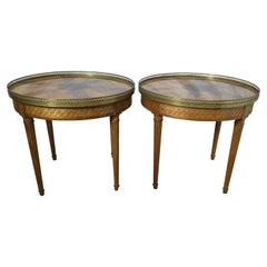 Pair of Round Light Walnut Side Tables by Baker Furniture
