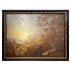 Large Italian Oil on Canvas Landscape Painting