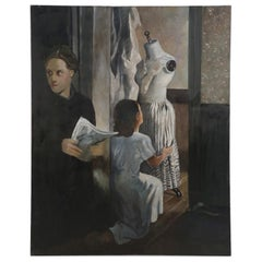 Vintage Dressmaker and Customer Oil Painting on Canvas