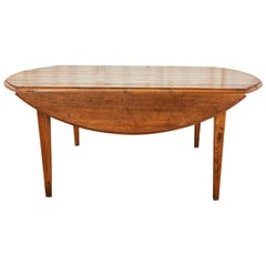Country English Provincial Pine Farmhouse Oval Drop-Leaf Dining Table