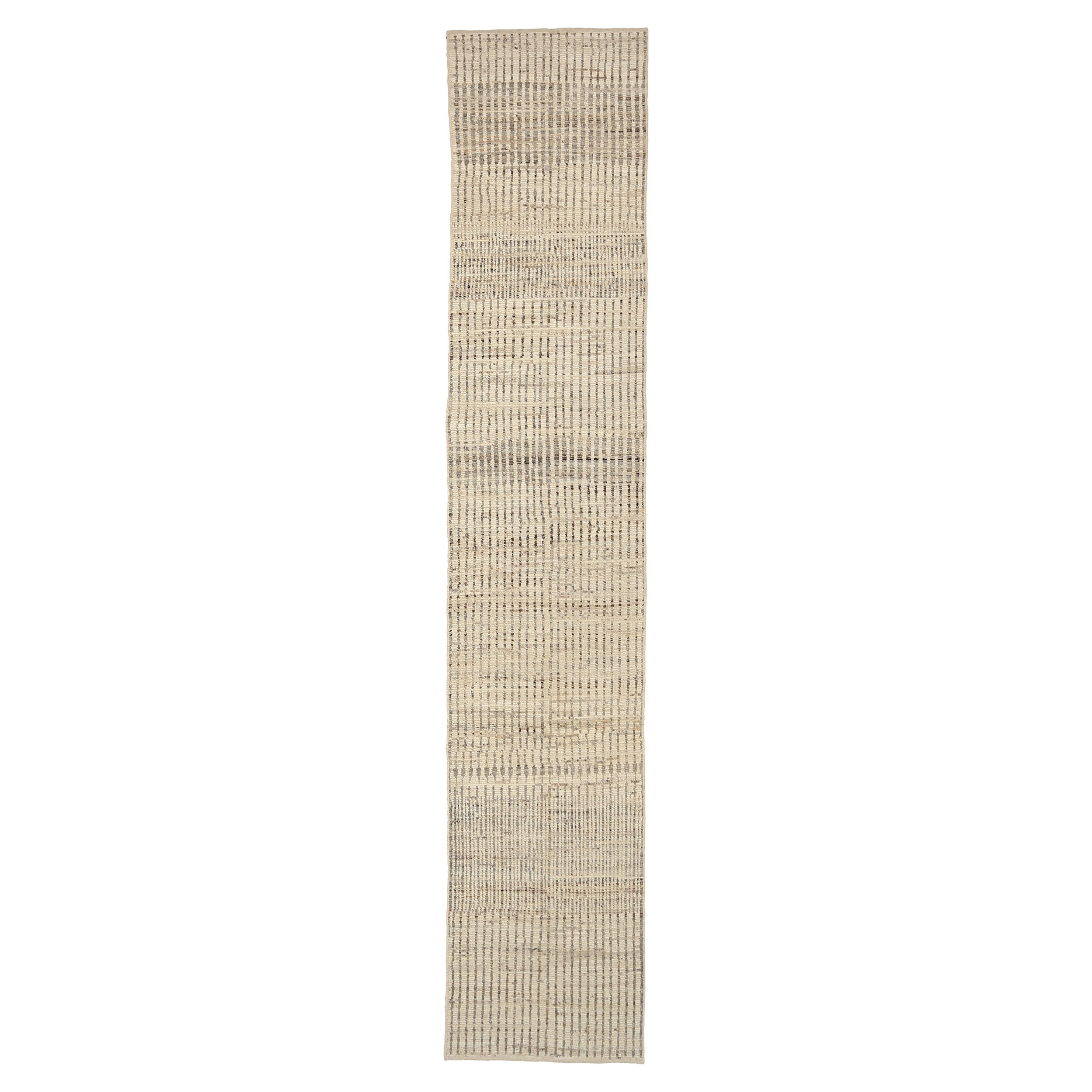 Nazmiyal Collection Beige Modern Distressed Runner. Size 2 ft 11 in x 15 ft 9 in