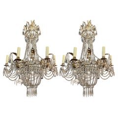 Pair of Antique Italian Beaded Crystal Basket Style Chandeliers