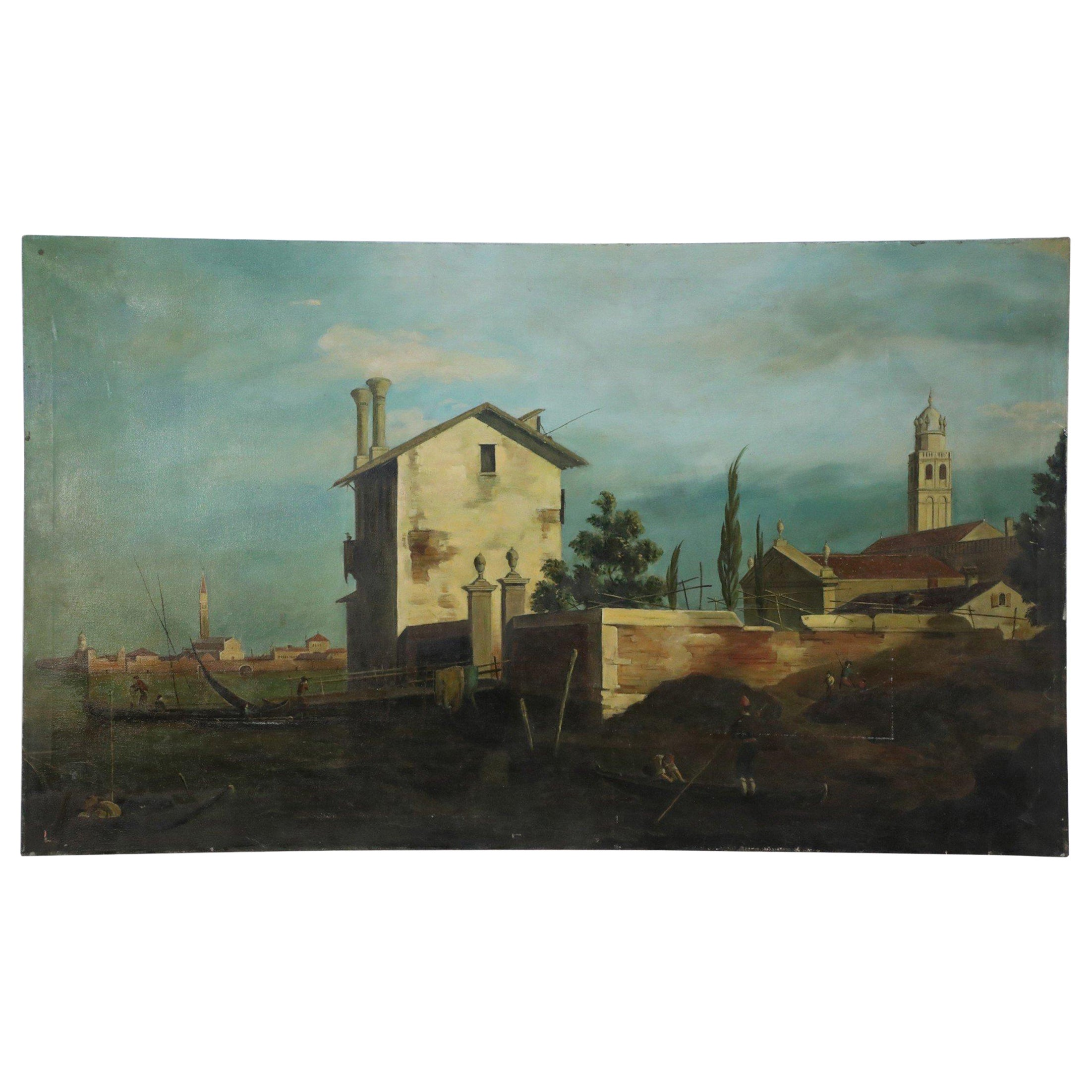 Village and Waters Oil Painting on Canvas