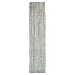 Nazmiyal Collection Blue Modern Distressed Runner. Size: 3 ft 11 in x 17 ft 6 in