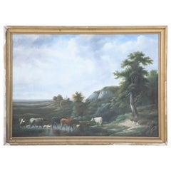 Framed Herder and Cattle Landscape Oil Painting