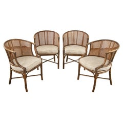 Set of Four McGuire Rattan Caned Barrel Dining Chairs