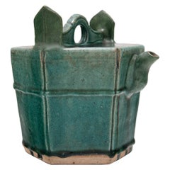 Chinese Green Glazed Carrying Teapot, c. 1900