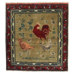 Chicken Rooster Vintage Turkish Square Rug
