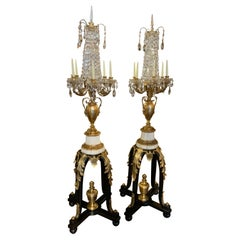 Pair of French 19th C. Torchiers, Gilt Bronze Marble and Crystal