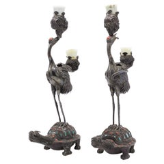 Pair of Chinese Style Silver Heron and Turtle Candelabras