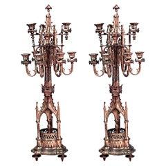 Pair of English Gothic Revival Gilt Bronze Candelabras