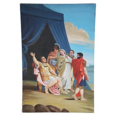 Heroic Gladiator and Blue Tent Oil Painting on Canvas