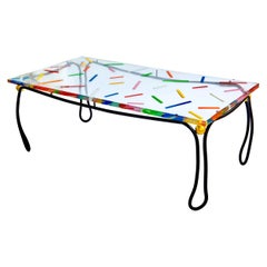 Sprinkles Rebar Dining Table With Epoxy Resin Top