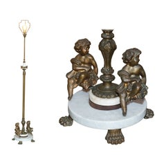 Lovely Circa 1920's Marble & Brass Floor Standing Lamp with Cherub Putti's Angel