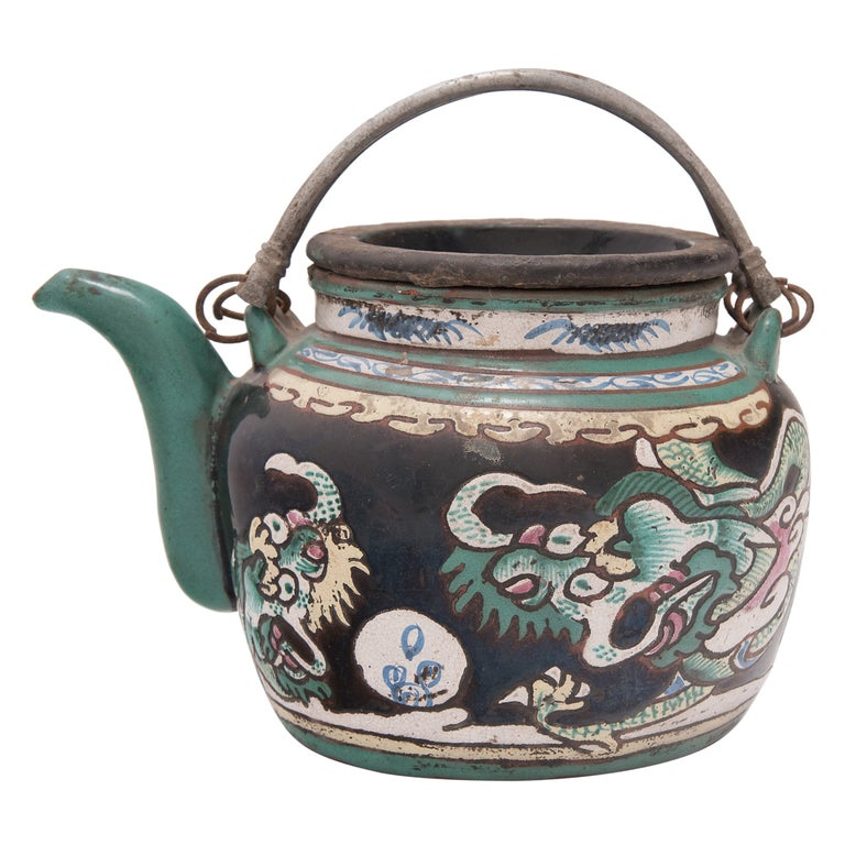 Chinese Enamelware Teapot with Twin Dragons, c. 1900 For Sale
