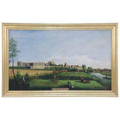 Framed Oil Painting of a Colonial Garden and River