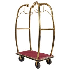 Brass and Red Carpet Hotel Luggage Carts