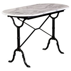 Early 20th C French Bistro Table with Iron Base and Carrara Marble Top