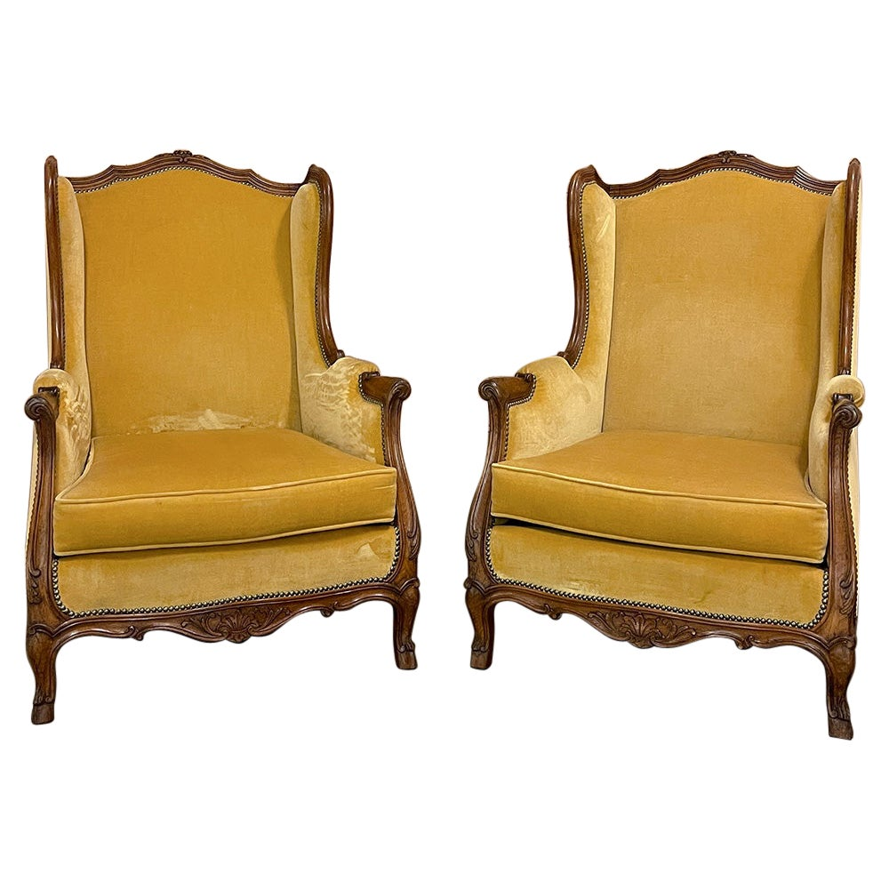 Pair Antique French Louis XV Wingback Bergeres, Armchairs
