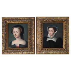 Pair of Early 17th Century Portraits of Aristocratic Women in Giltwood Frames