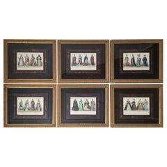 Set of 6 Hand Colored Copper Engraving Prints Mid 19th Century, Paris