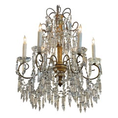 Antique Italian Crystal and Giltwood Chandelier