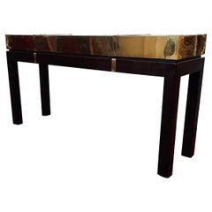 Sarreid Brass Console/ Sofa Table with Solid Oak Base
