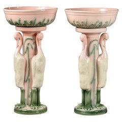Pair of Tall Mid Century English Porcelain Flamingo Jardinieres