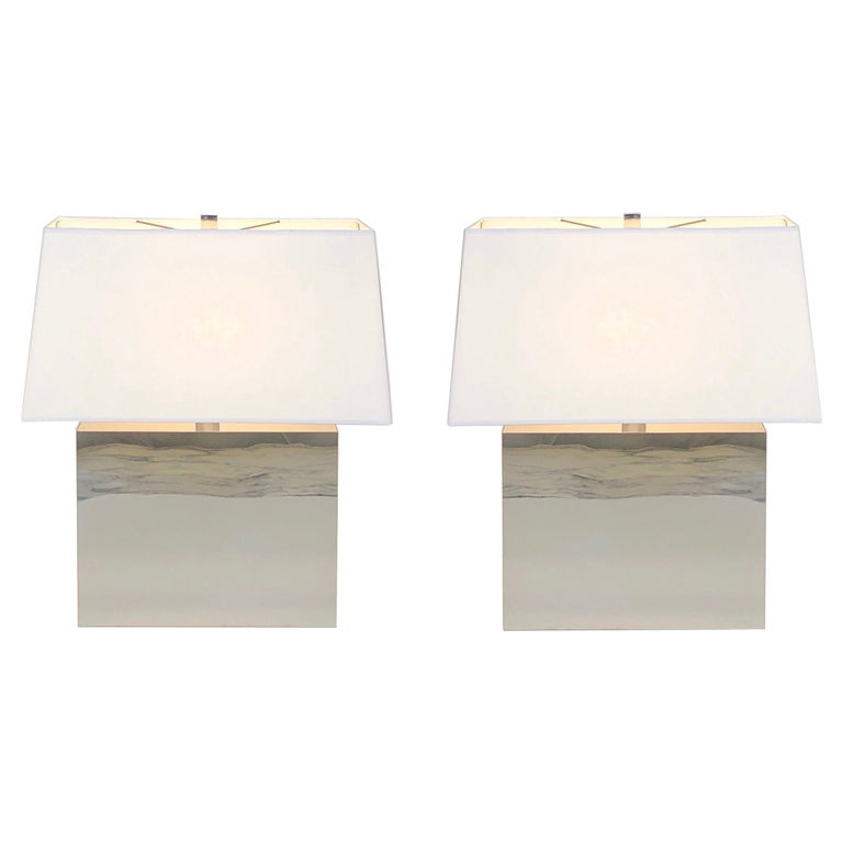 Pair of Chrome Table Lamps by Kovacs  For Sale