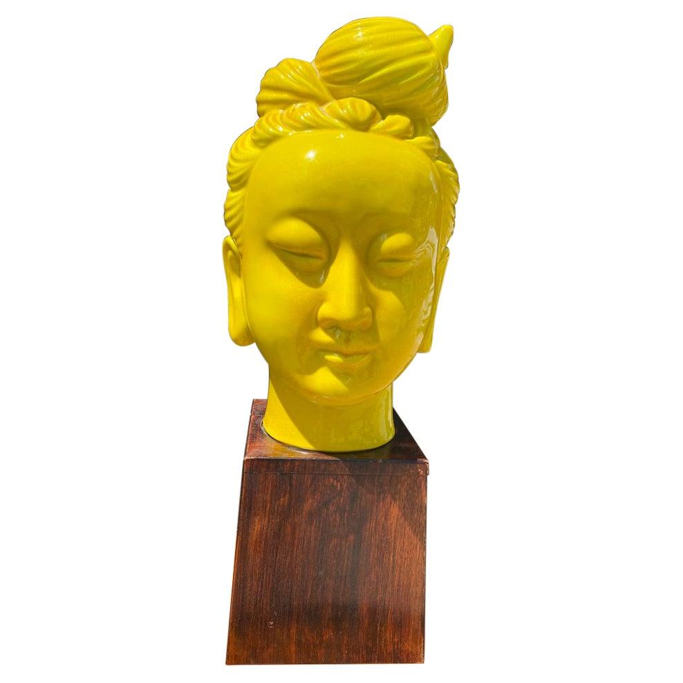 Mid-Century Modern Chinese Gwan Yin Statue on Wooden Base