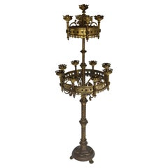 Large Antique Gothic Revival Church Candelabras 19th Century Brass Candlestick