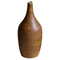 Gunnar Borg, Small Vase, Glazed Stoneware, Signed, Höganäs, Sweden, 1960s