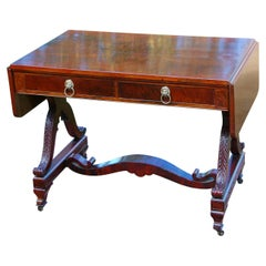 American Federal Period Rosewood Sofa Table with Acanthus Leaf Carving