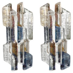 Kalmar Glass Sconces Wall Lights Prism, Blue Amber Smoke Art Glass Nickel, 1970s