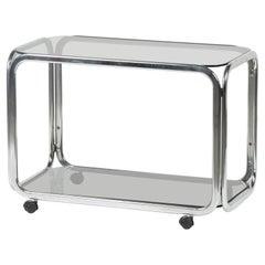 Mid-20th Century Chrome Bar Cart Smoked Glass