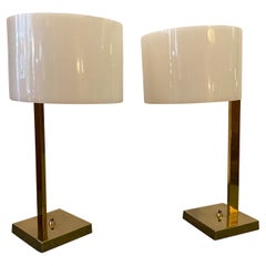 Uno and Osten Kristiansson Pair Luxus Table Lamps with Brass Bases